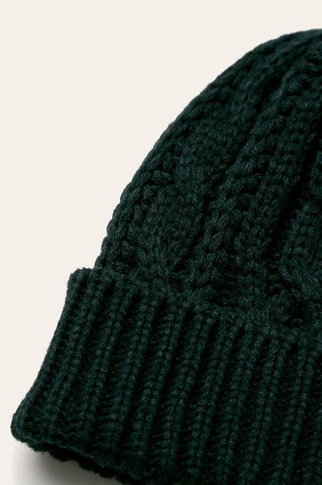 Czapka damska z domieszką wełny zielona