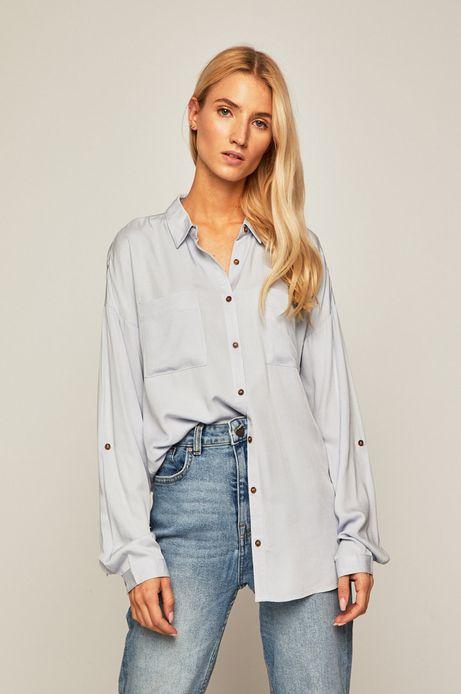 Koszula damska z obniżoną linią ramion niebieska