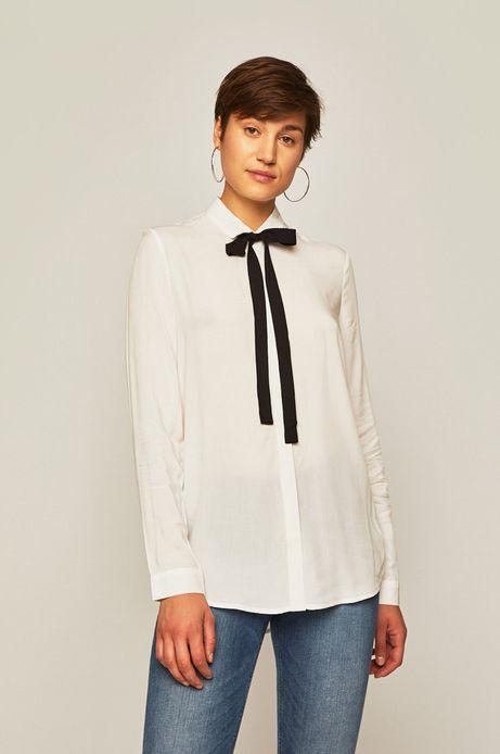 Koszula damska z wiązaniem przy dekolcie biała
