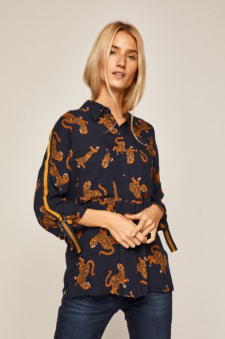Koszula damska z nadrukiem w tygrysy granatowa