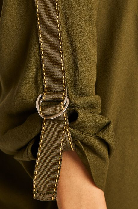 Koszula damska z lampasami zielona