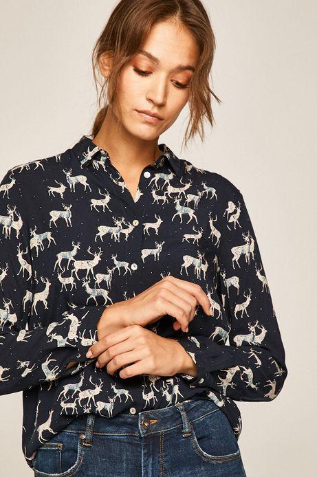 Koszula damska z nadrukiem w jelenie granatowa