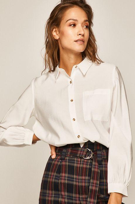 Koszula damska z kieszonką biała