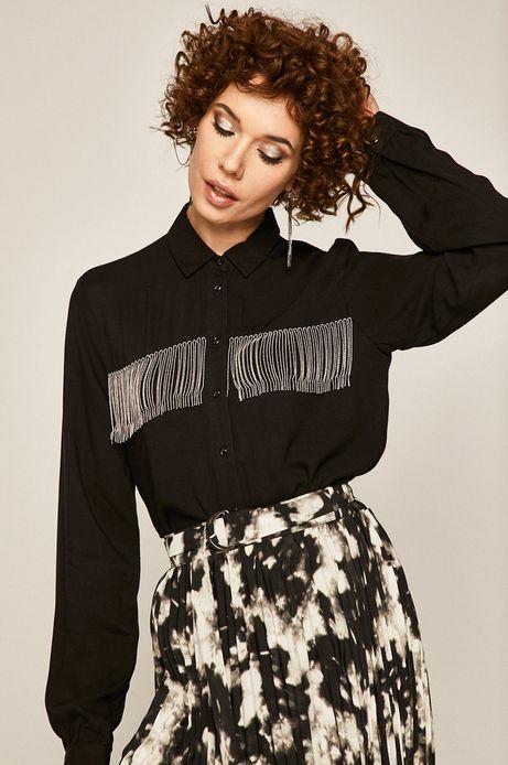 Koszula damska z ozdobnym wykończeniem czarna