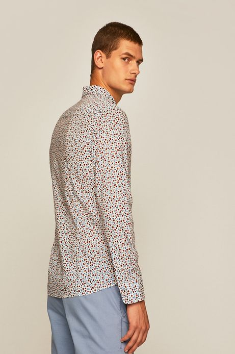 Koszula męska z wzorzystej tkaniny biała