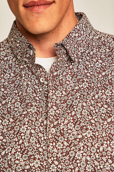 Koszula męska w drobne kwiatki brązowa