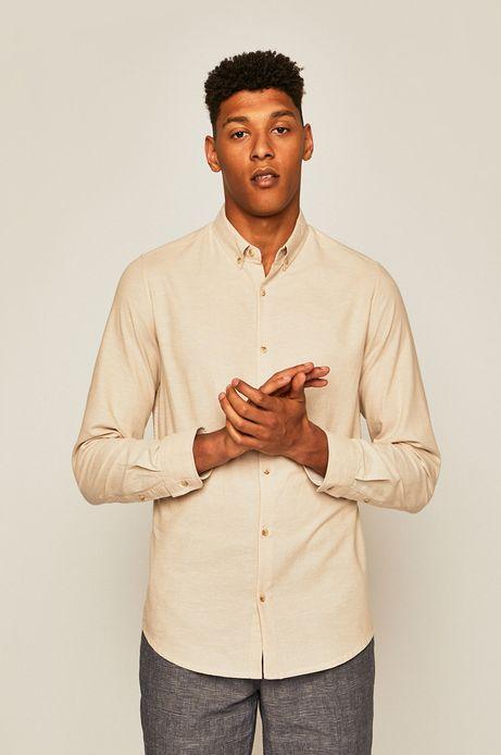 Koszula męska z domieszką lnu beżowa
