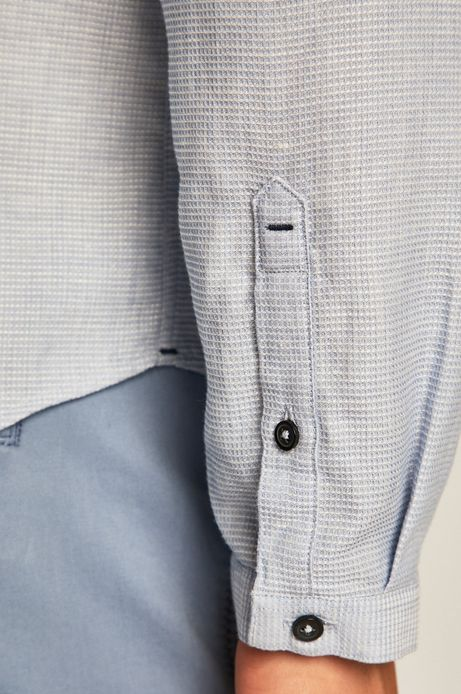 Koszula męska z domieszką lnu niebieska