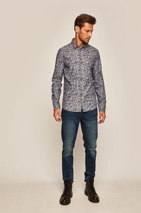Koszula męska z wzorzystej tkaniny granatowa