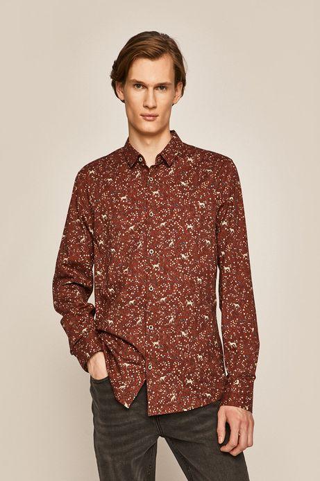 Koszula męska wzorzysta brązowa