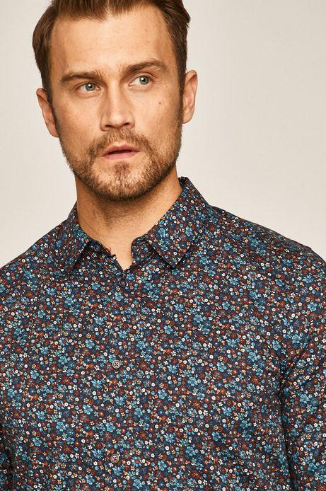 Koszula męska w drobne kwiatki granatowa