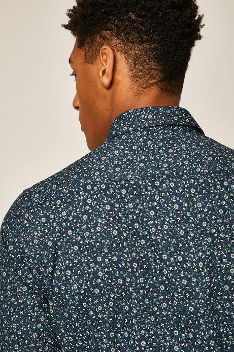 Koszula męska wzorzysta turkusowa