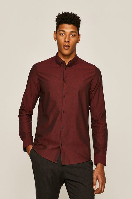 Koszula męska w kropki bordowa
