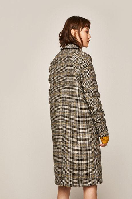 Płaszcz damski w kratkę z domieszką wełny szary