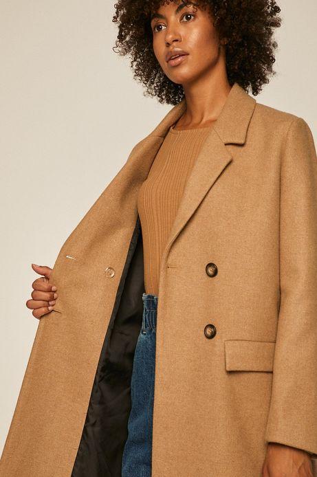 Płaszcz damski z domieszką wełny brązowy