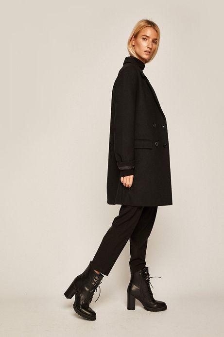 Płaszcz damski z domieszką wełny czarny