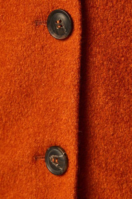 Płaszcz damski z domieszką wełny rudy