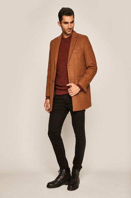 Płaszcz męski z domieszką wełny brązowy