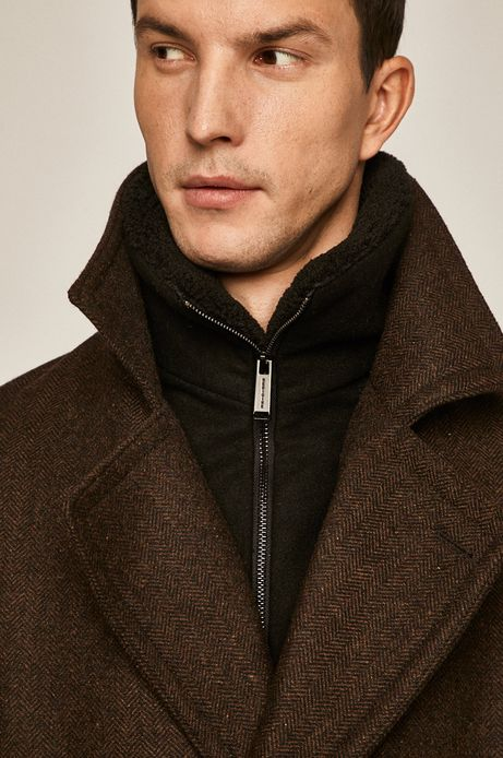 Płaszcz męski wełniany brązowy