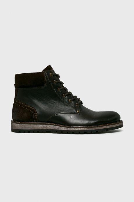 Buty męskie skórzane brązowe