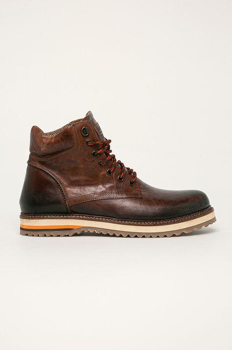 Buty skórzane męskie brązowe