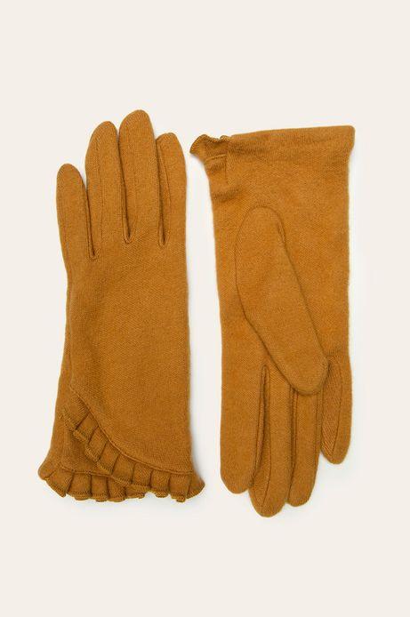 Rękawiczki damskie z falbanką żółte