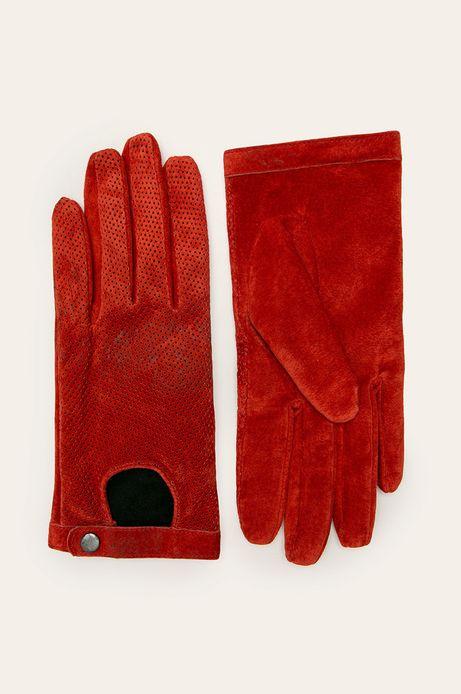 Rękawiczki skórzane damskie pomarańczowe
