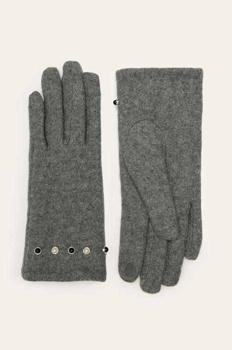 Rękawiczki damskie touch screen wełniane szare