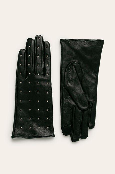Rękawiczki damskie skórzane touch screen czarne