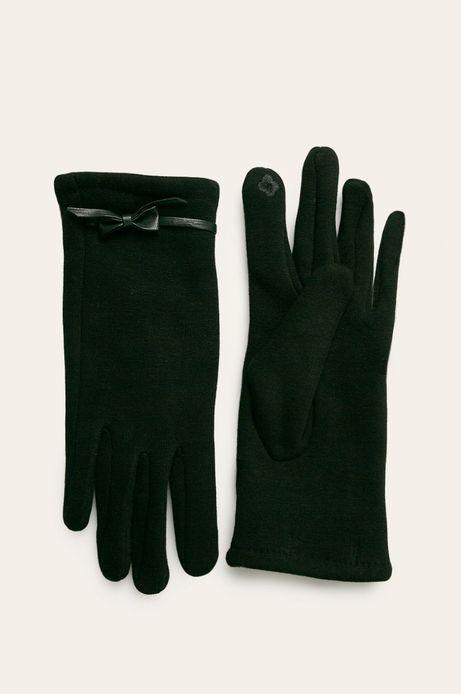 Rękawiczki damskie z kokardką czarne