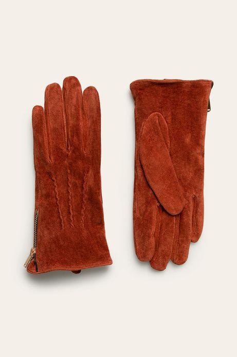 Rękawiczki skórzane pomarańczowe