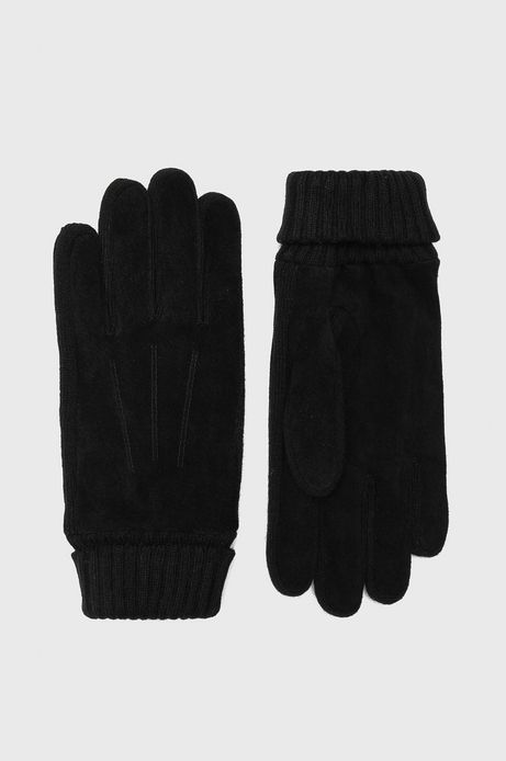 Rękawiczki męskie ze skóry zamszowej czarne