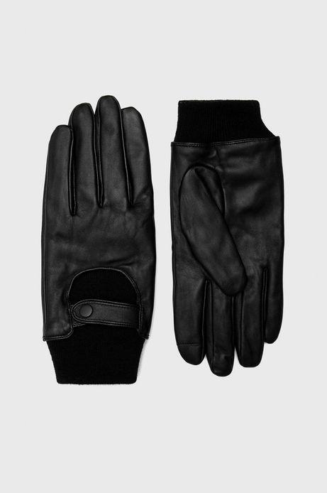 Rękawiczki skórzane czarne