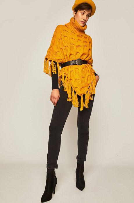 Poncho damskie z frędzlami żółte