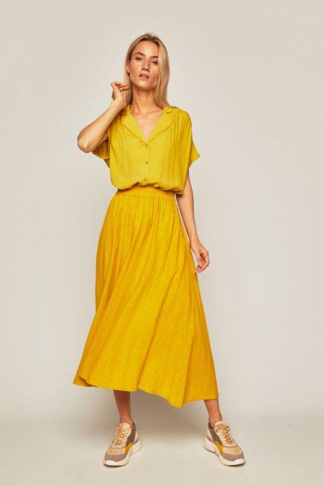 Spódnica damska z domieszką lnu żółta