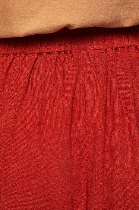 Spódnica damska z domieszką lnu ruda