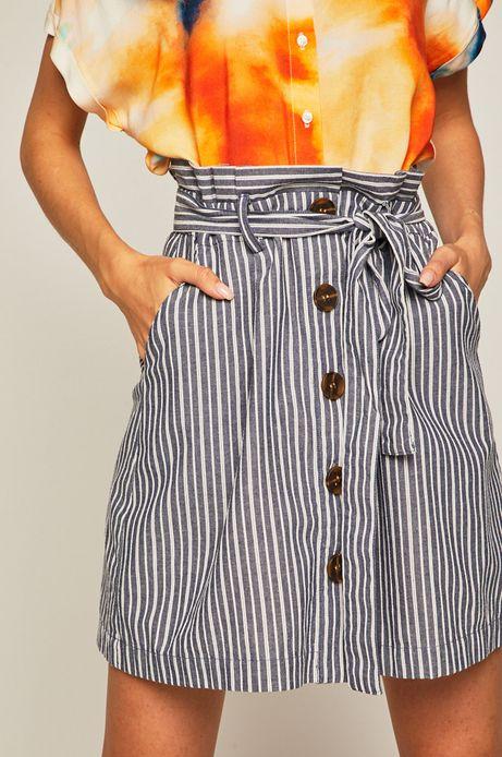 Spódnica damska z guzikami w paski granatowa