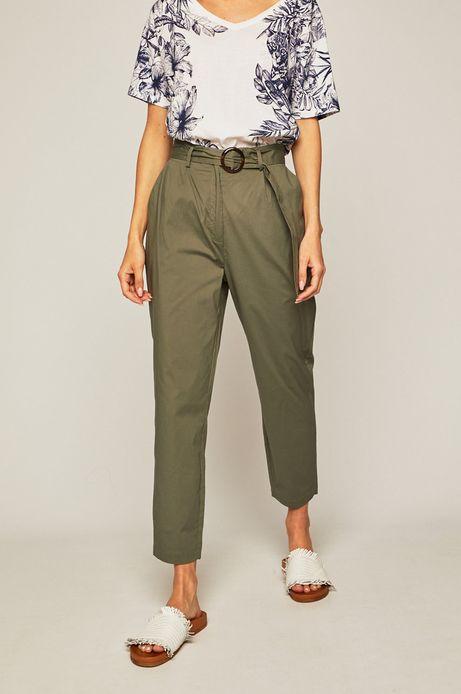 Spodnie damskie z podwyższonym stanem zielone