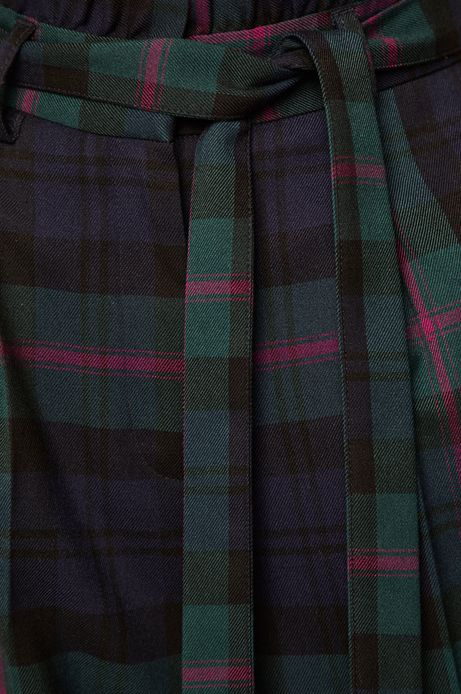 Spodnie damskie z podwyższonym stanem w kratkę granatowe