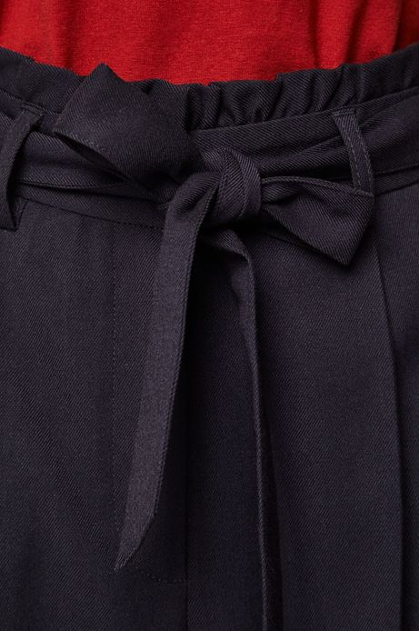 Spodnie damskie z podwyższonym stanem granatowe