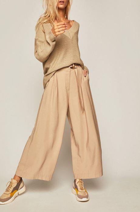 Spodnie damskie z szerokimi nogawkami beżowe