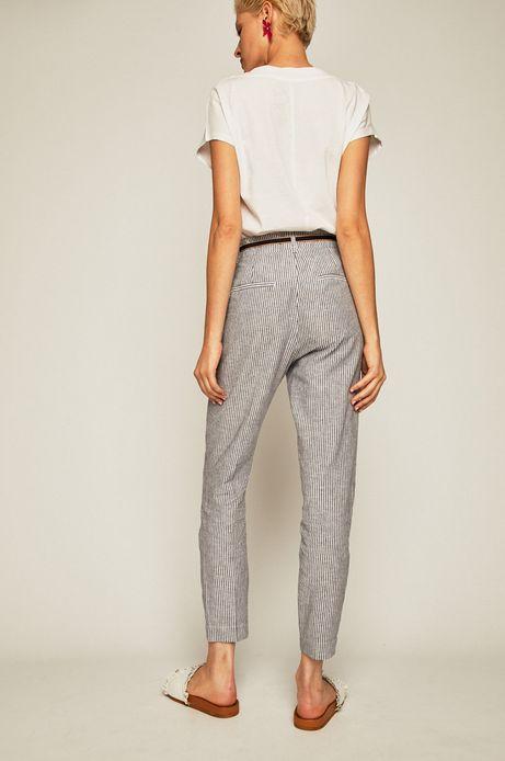 Spodnie damskie lniane w paski