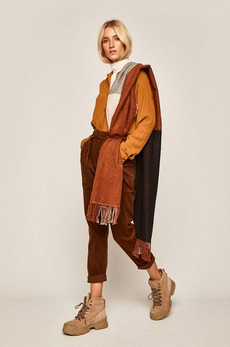 Spodnie damskie z marszczeniami rude