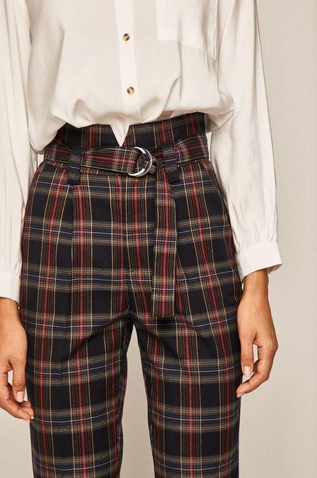 Spodnie damskie w kratkę granatowe