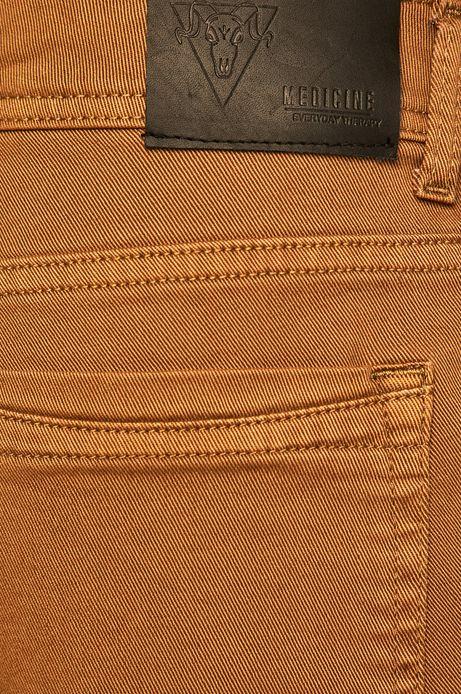 Spodnie męskie tapered musztardowe