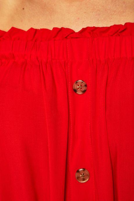 Sukienka damska z odkrytymi ramionami czerwona
