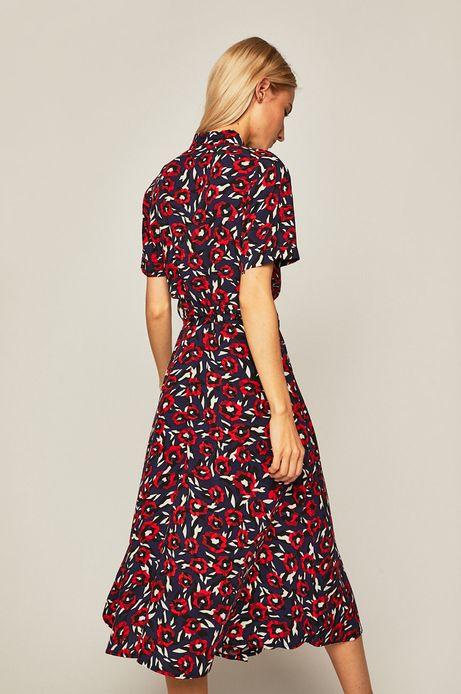 Sukienka damska wiązana w talii wzorzysta