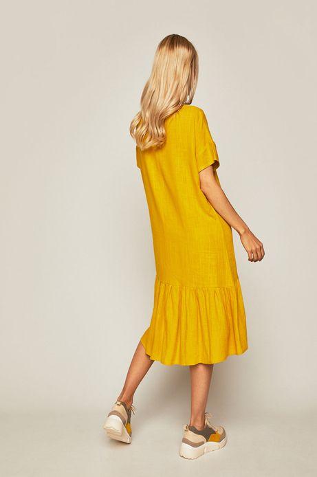 Sukienka damska z domieszką lnu żółta