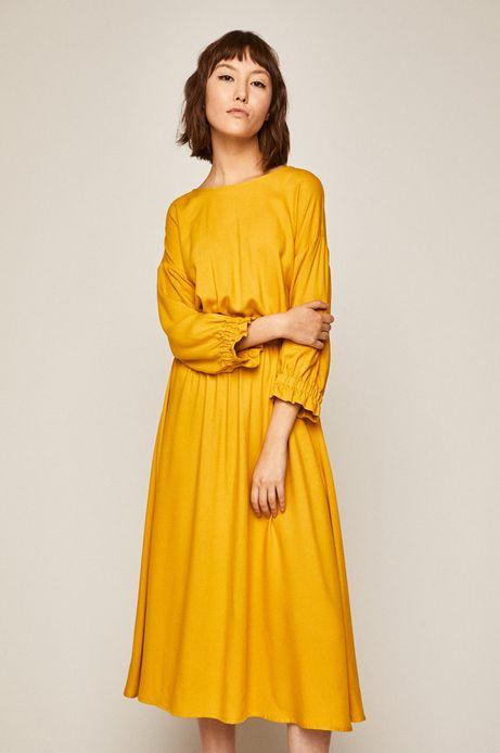 Sukienka damska rozkloszowana żółta