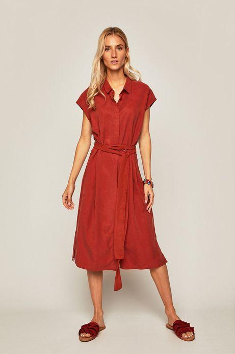 Sukienka damska wiązana w talii pomarańczowa